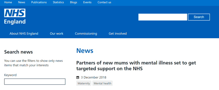 nhse partners of mothers with mental illness